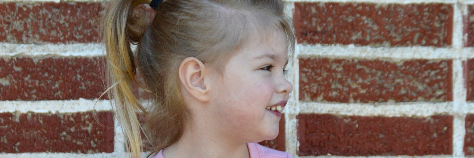 Picture of a little girl's profile, she has blond hair pulled in a ponytail, wearing a pink shirt and the background is a red brick wall.