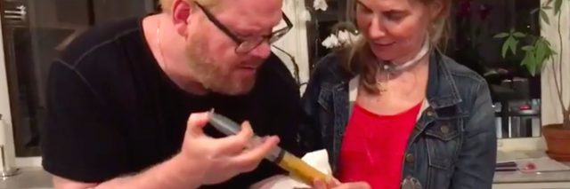 jim gaffigan using a syringe to inject his wife jeannie's feeding tube