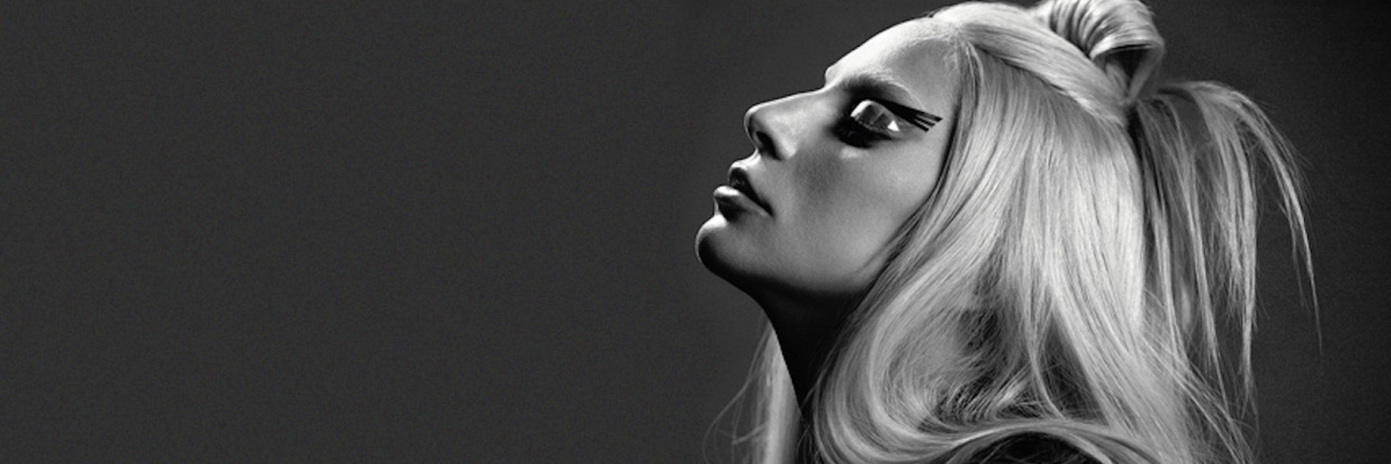 black and white photo of lady gaga