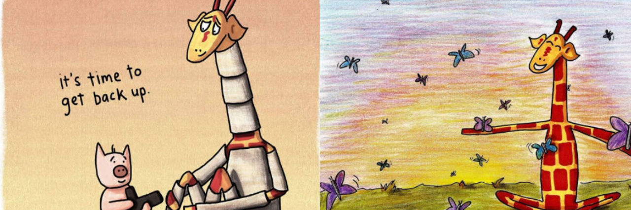 "motivating giraffe illustrations. One reads 'it's time to get back up' with pig offering a knighted giraffe his sword. The other features giraffe in a field with butterflies captioned ""there is still hope."""