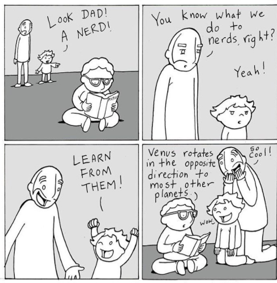 young boy teaching father and son about planets in a comic