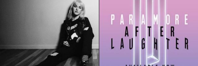 black and white photo of hayley williams sitting on the ground next to picture of paramore's new album after laughter