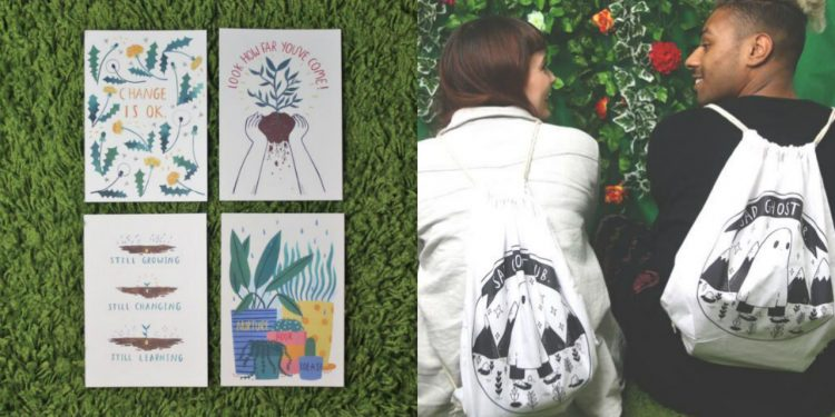 sad ghosts club postcards and drawstring bag