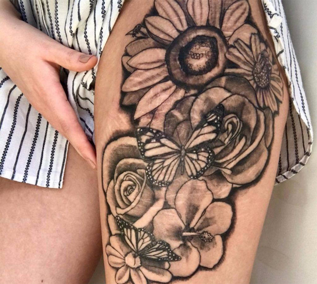 floral tattoos covering self-harm scars