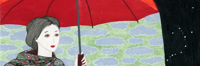 I created this illustration of a girl wearing floral raincoat holding red umbrella using watercolors on paper in 2013