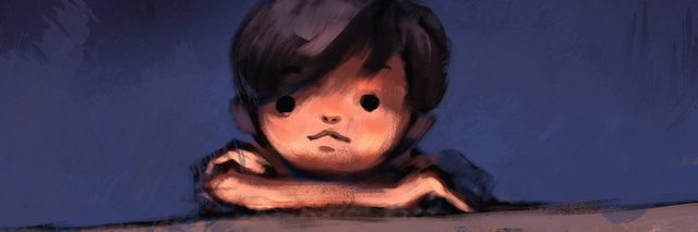digital painting of boy on top of concrete wall, oil color on canvas texture