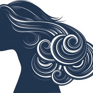 Abstract woman Hair style silhouette, wavy hair