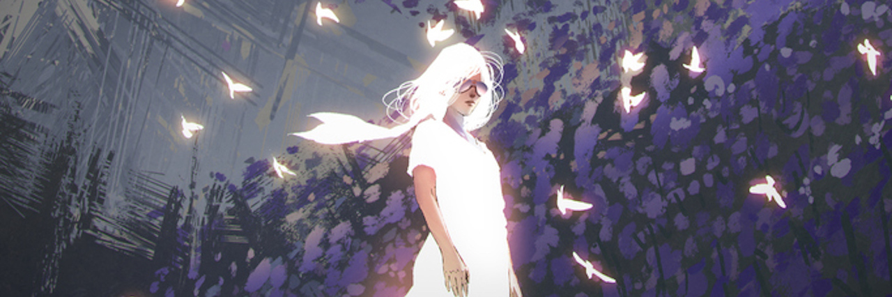 woman in glowing white dress standing among birds with digital art style, illustration painting
