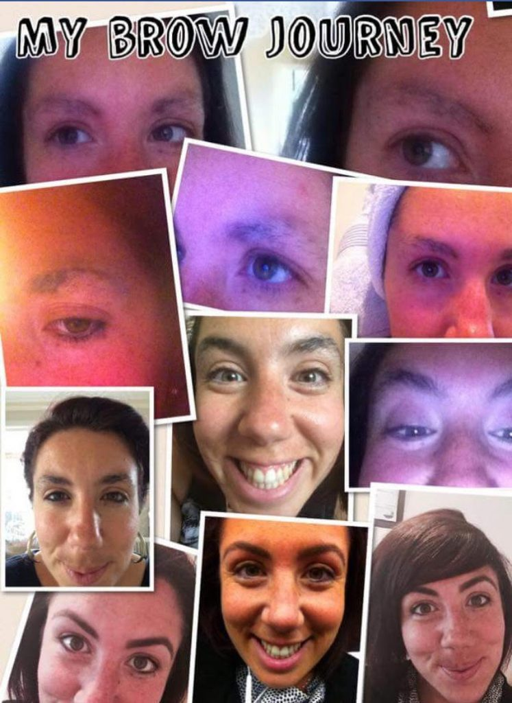 collage of woman smiling and shots of eyebrows