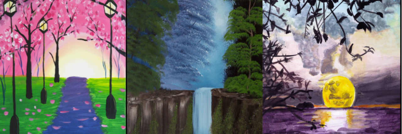 three paintings, one of pink trees, one of waterfall, one of the moon