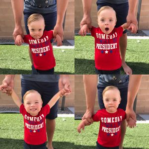 Four pictures with different facial expressions of little boy with Down syndrome wearing a red shirt