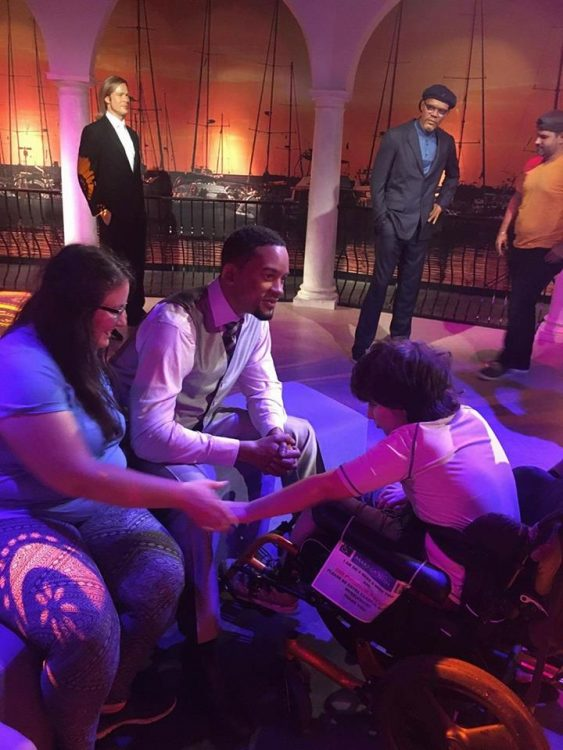 mother and son meeting Will Smith on a make-a-wish trip