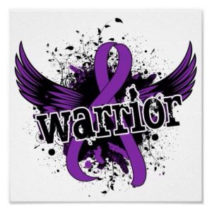 purple awareness ribbon with wings that says 'warrior'
