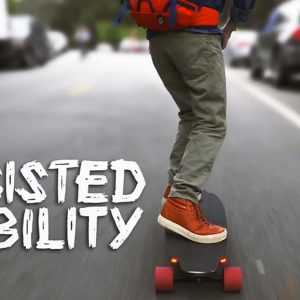 Assisted Mobility: Taylor Lewis riding his skateboard.