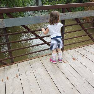 Little girl on a bridge looking at water. We see her back side and her leg braces.
