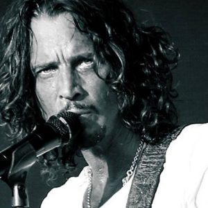 Black and white photo of Chris Cornell