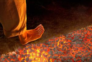 feet walking on coals