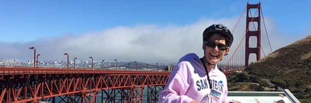 In San Francisco with the Golden Gate Bridge in the background.