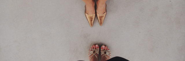 two women's feet facing one another