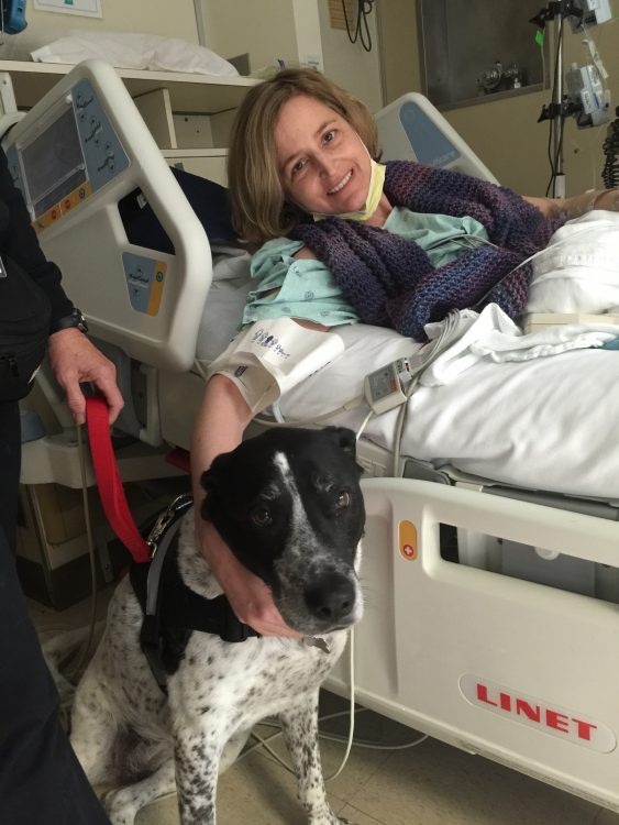 woman and therapy dog in the hospital