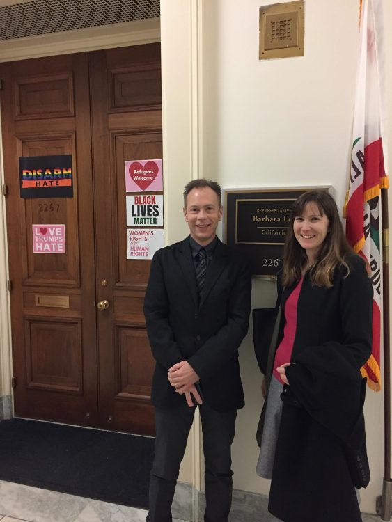 Wayne Anderson, D.O. and me in front of Congresswomen Barbara Lee's office.