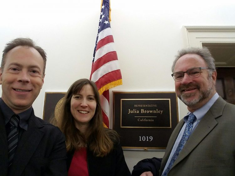 Wayne Anderson, D.O., me, and Robert Cowan, M.D. in front of Congresswomen Julia Brownley's office.