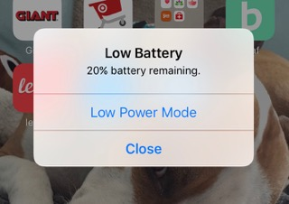 notification on phone of low battery