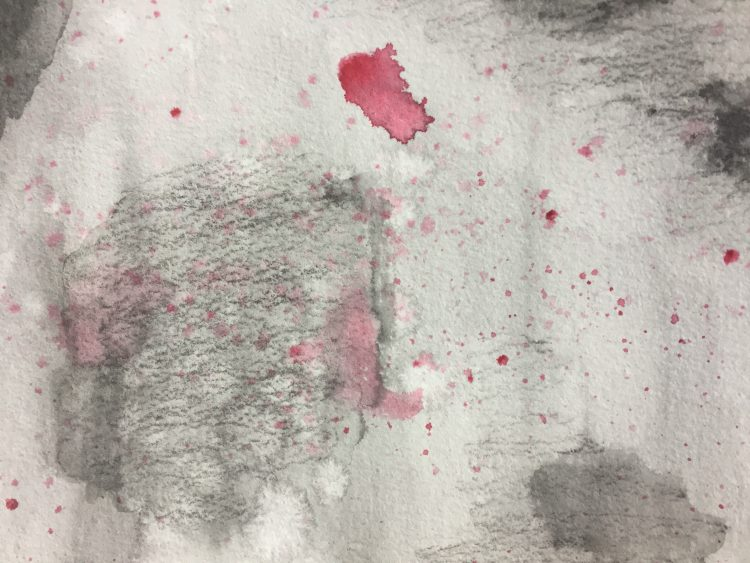 black and white painting with red splashes depicting what brain fog looks like
