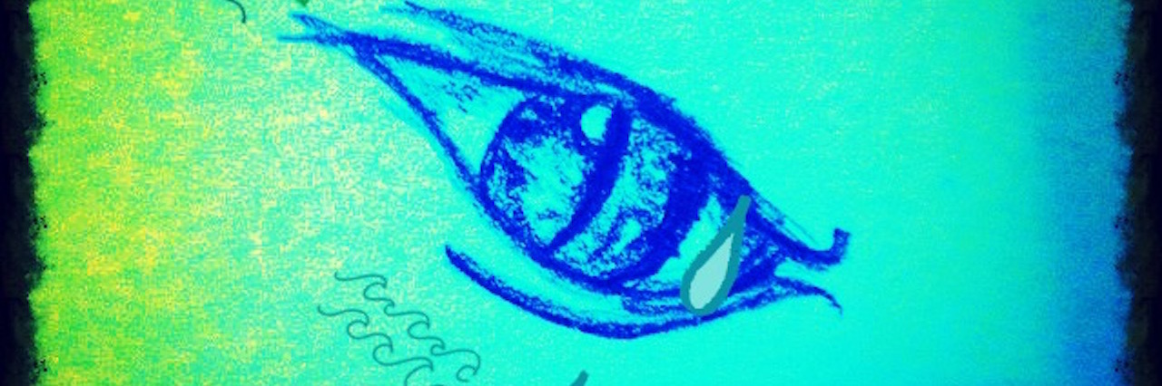 green and blue drawing of an eye crying