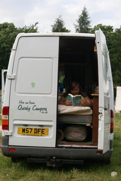 back view of the quirky campers van