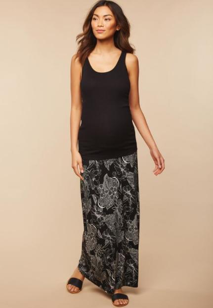 motherhood maternity tank top and maxi skirt