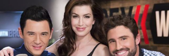 Stevie Ryan with two men at a recording studio
