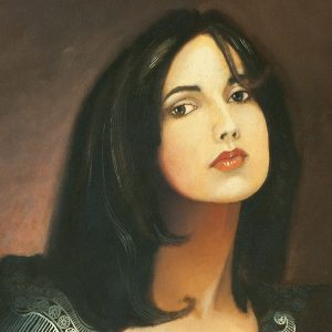 Oil painting of beautiful woman with an open blouse