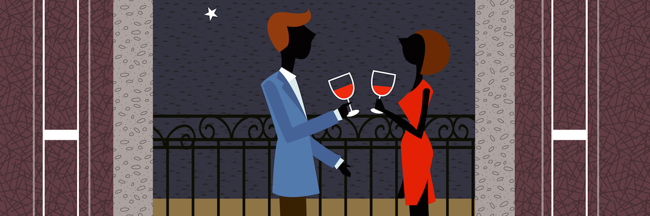 Couple Holding Wine Glass Standing In Balcony