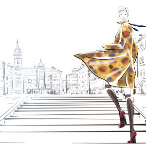 A drawing of a fashion oriented woman walking on stairs outside of a city.