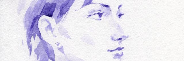 blue watercolor painting of a woman