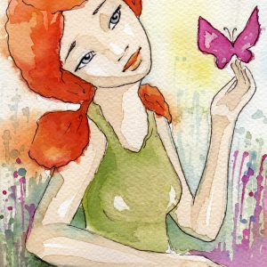 illustration of a woman with a butterfly sitting on her finger