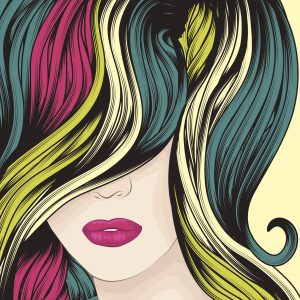 """""""Beautiful woman with funky colorful hair. Face, hair and background are on separate layers. Each hair strand is individual object. Easy to change colors. Extra folder includes Illustrator CS2 AI and PDF files."""""""
