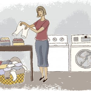 Woman doing laundry.