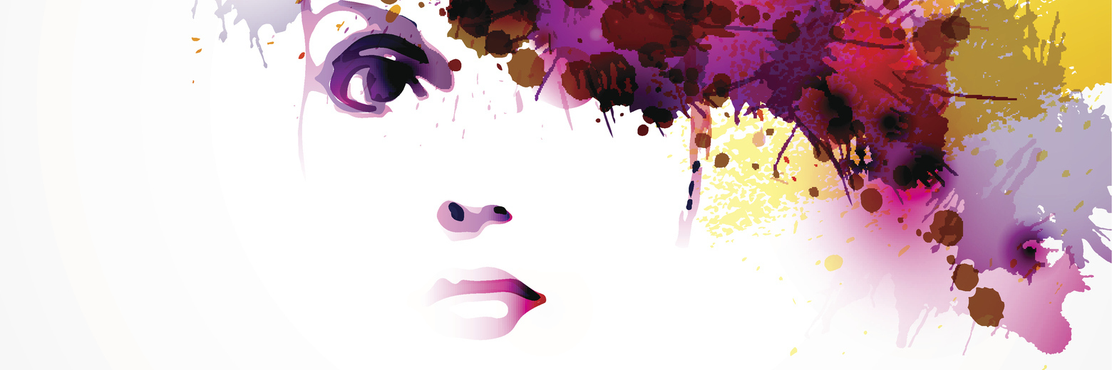 woman with colorful watercolor splash across her face