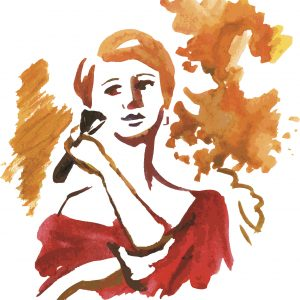 watercolor painting of woman in red dress putting on blush