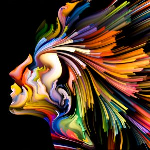 A colorful illustration of a woman.