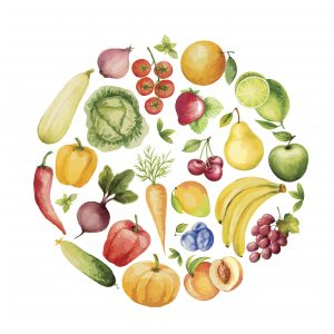 Set of watercolor vegetables and fruits.Template for your design. Vector illustration.