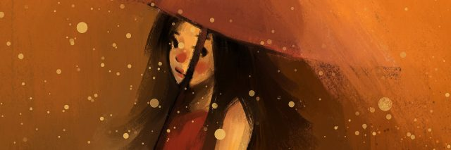 illustration of a girl in a red dress carrying an umbrella