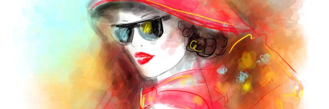 watercolor painting of a woman wearing a hat and sunglasses
