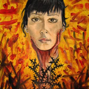 Decapitated portrait of a black haired woman with thorns. Painting with abstract blood splatter background