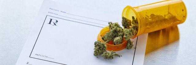 photo of marijuana spilled over a prescription