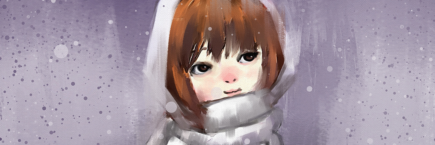 digital painting of girl in wintertime , oil on canvas texture