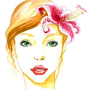 illustration of woman with pink flower in her hair