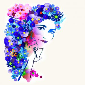 watercolor painting of a woman with blue and pink flowers around her head